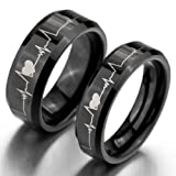 JBlue Jewelry Men's Tungsten Ring Comfort Fit Bands Black Heart Valentine Love Couples Promise Engagement Wedding Size13 (with Gift Bag)