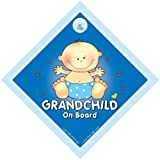 Grandchild On Board, Grandchild On Board Car Sign, Big Blue, Baby on Board Sign, Baby On Board, Decal, Baby Sign, Baby Car Sign, Bumper Sticker, Grand Child On Board Car Sign, Grand Parents Car Sign, Grandson On Board Signby iwantthatsign.com