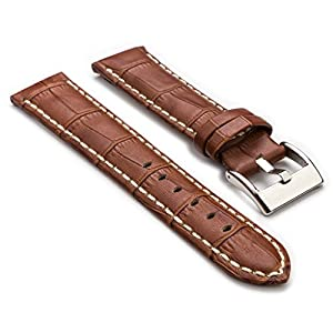 StrapsCo Premium Brown Croc Embossed Leather Watch Strap size 22mm