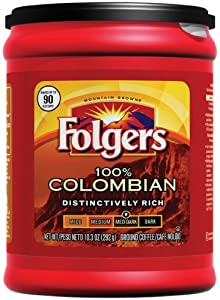 Folgers 100% Colombian Ground Coffee, 10.3-Ounce Packages (Pack of 6)