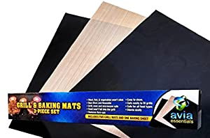 Grill Mat and Baking Sheet 3-Piece Set-Non-stick Economical Way to Grill, Barbeque and... by Avia Essentials