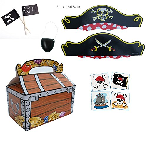 Best Price Pirate Birthday Party Supplies for 12 - 12 Treasure Chests, 12 Pirate Hats, 12 Eye Patche...