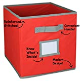 Hangorize® Collapsible Fabric Cubicle Storage Bins, Bright Red, 6 Pack, with Handy Label Window to Make Identifying Contents Easy. Set Includes 6 Foldable Storage Cube Basket Bins