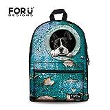FOR U DESIGNS Funny Leisure Blue Dog Animal Campus Bookbag School Backpack for Boys