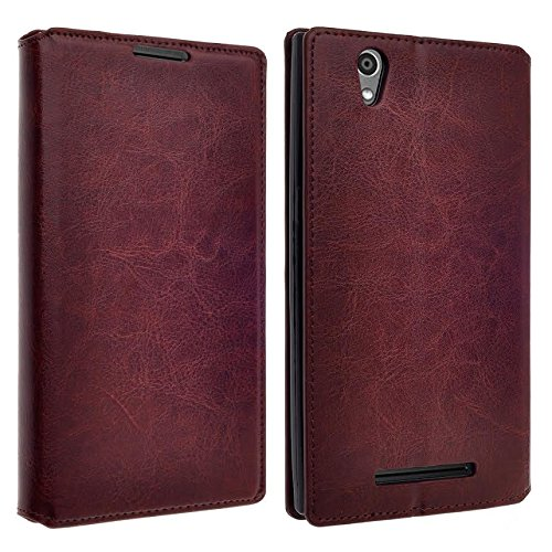 ZTE ZMAX Z970 Case, Leather Wallet Case with Card Slots Cash Compartment for ZTE ZMAX Z970 (TMOBILE / METRO) (BROWN EXECUTIVE WALLET) (Zte Zmax Phone Case T Mobile compare prices)