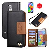 Galaxy S5 Case,[with 2 FREE Screen Protectors]By HiLDA,Wallet Case,PU Leather Case,Credit Card Holder,Flip Cover Skin,Galaxy SV I9600[Black]