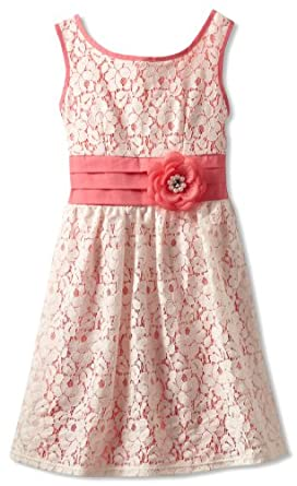 My Michelle Big Girls' Banded With Flower Dress, Coral, 14