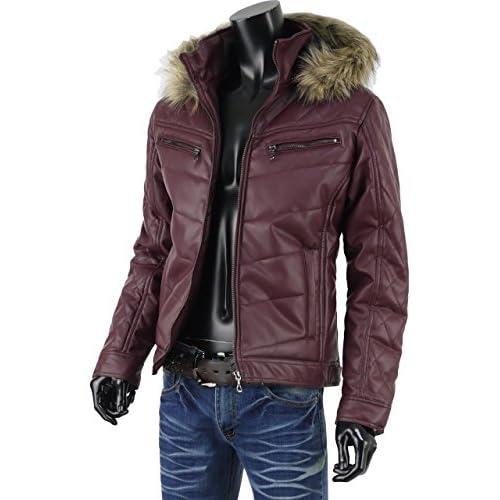 ジャケット メンズ レザー 中綿ジャケット ダウンタイプジャケット 冬 アウター 合皮 合成皮革 G271120-03 ワイン L