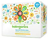 Babyganics Face, Hand & Baby Wipes, Fragrance Free, 100 Count (Pack of 4) by American Health & Wellness