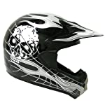 New Motocross ATV Dirt Bike MX Adult Racing Black Skull Helmet, L