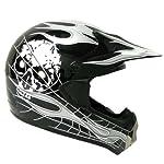 New Motocross ATV Dirt Bike MX Adult Racing Black Skull Helmet, L
