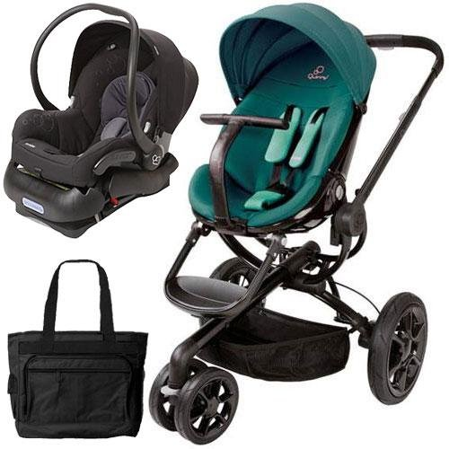Quinny CV078BFQ Moodd Stroller Travel system with diaper bag and car seat - Green Courage