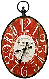 Oval Decorative Clock with Red Antique Look Face New Design 17x28 Inches Metal Frame Quartz movement
