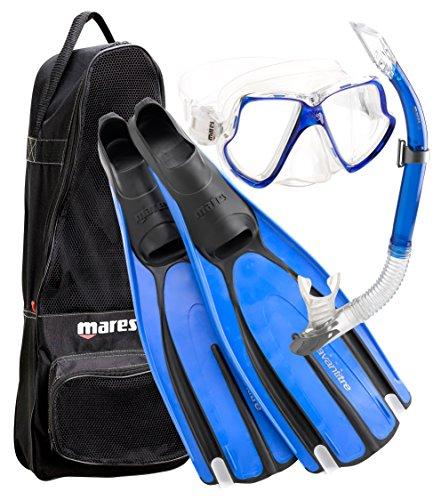 Mares Avanti Tre Scuba Diving Mask Fin Snorkel Set with Carry Bag, BL- 8/9 (Mares Avanti Fins compare prices)