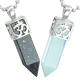 OM and Yin Yang Love Couple Amulet Crystal Points Blue Goldstone Simulated Opalite Necklaces