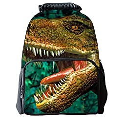 Vere Gloria Unisex School Backpack Bags 3D Animal Print Felt Fabric Hiking Daypacks (dinosaur 2)