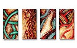 Neron Art - Handpainted Abstract Oil Painting on Gallery Wrapped Canvas Group of 4 pieces - Dudley 48X24 inch (122X61 cm)