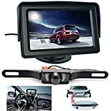 Backup Camera and Monitor Kit For Car,ShineKee Universal Waterproof Rear-view License Plate Car Rear Backup Camera + 4.3 LCD Rear View Monitor