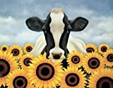 Surrounded by Sunflowers Lowell Herrero Floral Flowers Cows Print Poster 11x14