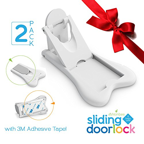 Sliding Door Lock for Child Safety - Baby Proof Doors & Closets. Childproof your Home with No Screws or Drills by Ashtonbee (Set of 2, White) (Window Protection Bars compare prices)