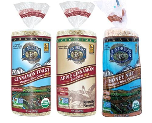 Lundberg Gluten-Free Non-GMO Rice Cakes 3 Flavor Variety Bundle: (1) Vegan Apple Cinnamon, (1) Allergen-Free Organic Honey Nut, and (1) Organic Cinnamon Toast, 9.5-9.6 Oz. Ea. (3 Total) (Rice Cakes Variety Pack compare prices)