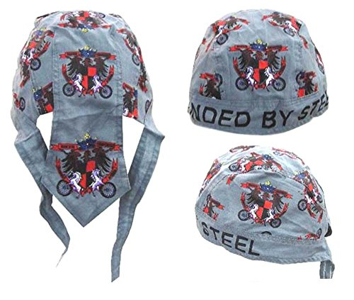 2 Pieces Biker Brothers Shield Bandanna Wrap Around Do Rag Hat - Men or Women Cap