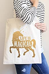 Life Is Magical Gold Tote Bag in Natural Color