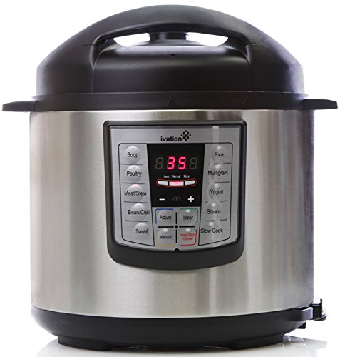 Ivation 7-In-1 Programmable Multi-Function Electric Pressure Cooker; Steamer, Slow Cooker, Rice Cooker; High Grade Stainless Steel 6.3Q Inner Pot; 11 Preset Cooking Styles; 1000W Power (Cheap Pressure Cooker compare prices)