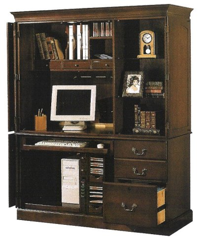 Picture of Comfortable All new item Dark cherry finish wood computer armoire cabinet desk (B0014B5B0I) (Computer Armoires)