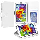 myLife Snowflake White - Classic Design - Koskin Faux Leather (Card, Cash and ID Holder + Magnetic Detachable Closing) Slim Wallet for NEW Galaxy S5 (5G) Smartphone by Samsung (External Rugged Synthetic Leather With Magnetic Clip + Internal Secure Snap In Hard Rubberized Bumper Holder)