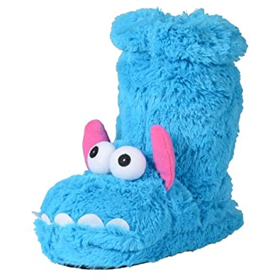 Ladies Novelty Padded Blue Faux Fur Monster Slippers With Anti-Slip Sole UK 6