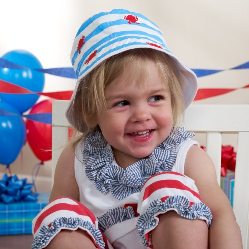 Mud Pie Boathouse Baby Blue Striped Cotton Sun Hat, Crab, 0 - 12 Months