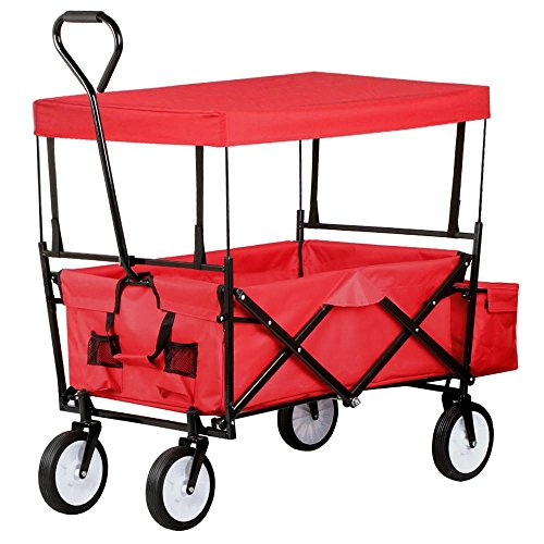 Yaheetech Collapsible Folding Wagon W/Canopy Garden Cart Outdoor Garden Beach Sports Red (Folding Wagon With Seats compare prices)