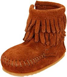 Minnetonka Double Fringe Bootie (Infant/Toddler),Brown,1 M US Infant