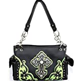 Lime Green and Black Detailed Cross Conceal and Carry Purse with Rhinestones