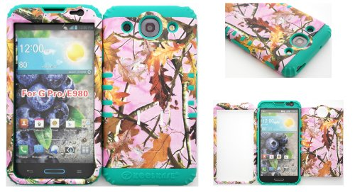 Lg Optimus G Pro E980 Pink Leaf Camo Mossy Hard Plastic Snap On + Teal Silicone Kickstand Cover Case front-1016727