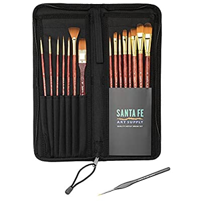 Paint Brushes by Santa Fe Art Supply Your Best Quality 15 Pc Set for Acrylic, Watercolor, Oil, Ink, Face Paint in Zip Case with Lovely Handles No Shed & FREE Gift for Art Students and Professional Artists *Guaranteed to Love or Your Money Back* 100 Satisf