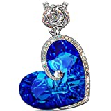 """♥Valentine's Day Jewelry♥ J.NINA """"Aphrodite"""" Rose Heart Women Necklace 17''+2'', Made with Swarovski Crystals, Engraved with """"I love you"""",Jewelry with a Luxury Gift Box for Woman"""