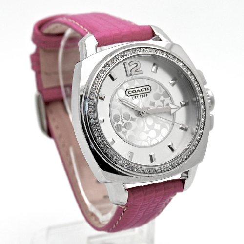 Coach Boyfriend Crystal Signature Pink Leather Strap Ladies Watch 14501435