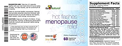 Staying Cool for Hot Flashes Menopause Relief, 60 Vegetarian Capsules (Pure Formula for Night Sweats, Mood Swings, Weight Gain, Sleep, and Dryness)