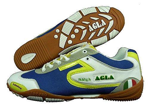 AGLA PROFESSIONAL MATCH INDOOR white/yellow antishock scarpe calcetto calcio a 5 (EUR 44.5)