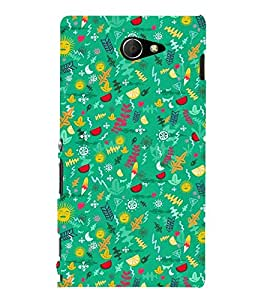 GREEN KIDDISH PATTERN 3D Hard Polycarbonate Designer Back Case Cover for Sony Xperia M2 Dual D2302 :: Sony Xperia M2