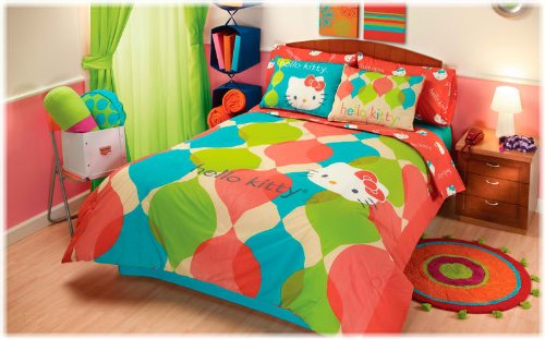 hello kitty colorful reversible 8 pc queen comforter set