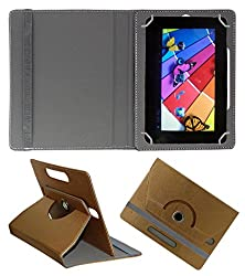 Acm Designer Rotating 360° Leather Flip Case For Nxi Fabfone Next Tab Tablet Stand Premium Cover Golden