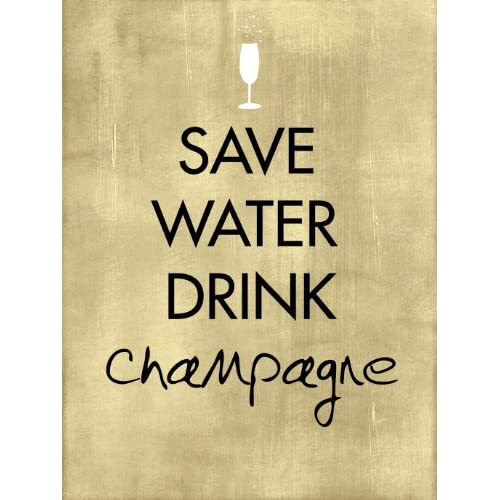 Save Water Drink Champagne A2 word art poster print