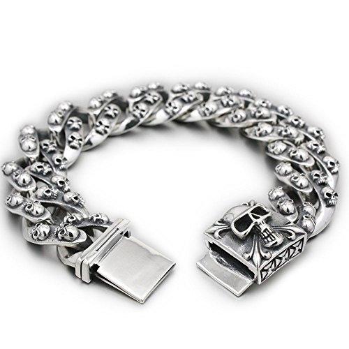 Huge Heavy 925 Sterling Silver Skulls Mens Biker Bracelet 8H012 (12.5 Inches)