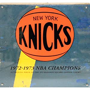 New York Knicks Authentic Piece of 12x12 1973 MSG Court w Plexi Art on Top by Steiner Sports