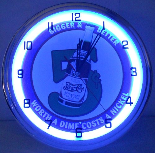 """Pepsi Cola Bottle 5 Cents 15"""" Neon Lighted Wall Clock Sign Blue front-227099"""
