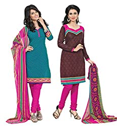 Inaaya Collections Coton printed dress Green:Brown colored 2 in 1 dress material