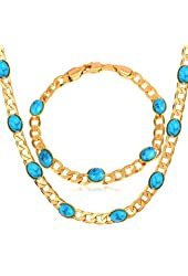 Turkish Blue Turquoise Stone 18k Gold Plated Curb Chain Necklace & Bracelet Set